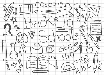 Set of Back To School doodles