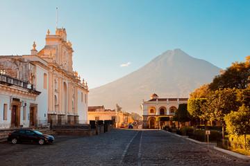 Antigua Guatemala with Aqua Volcano in the background