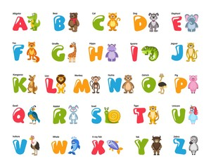 Zoo alphabet for kids with funny animals, birds, fish. Colorful elephant, lion, zebra, iguana, giraffe, hippopotamus, tiger, monkey, kangaroo, snail, rabbit, pig, cat, dog, ostrich, bear and others.