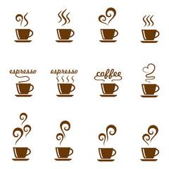 Set Coffee Cafe Hot Vector Design Vector
