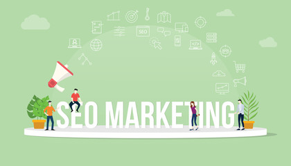 seo search engine optimization marketing concept with team people working together with big text title banner and icon about it spreading flying with loudspeaker - vector