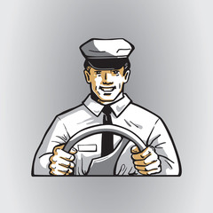 Smiling happy public transport driver with wheel. Vector image of man in the uniform cap and clothes. Illustration of a passenger bus driving for icon or logo design.