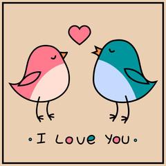 Aluminium Prints Birds, bees love birds birds valentines day greeting card vector illustration