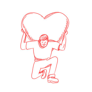 Drawing sketch style illustration of a modern Atlas lifting or carrying a giant heart on his back or shoulder while kneeling viewed from front on isolated white background.