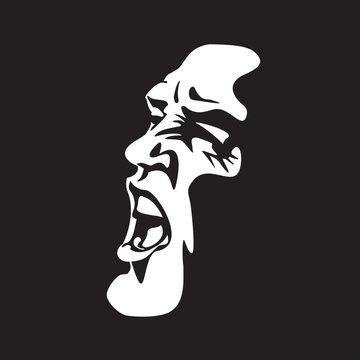 Screaming face shout in black and white vector graphics. Emotional scream of a man with open shouting mouth - expression drawing in graffiti style.