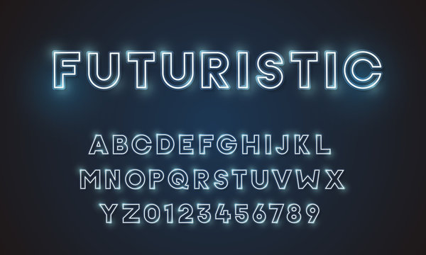 Futuristic vector font typeface unique design. For technology, digital, engineering, digital , gaming, sci-fi and science subjects. All letters and numbers included