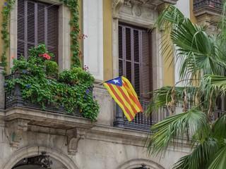 Catalan flag at the window, Barcelona, Catalonia, Spain, Europe