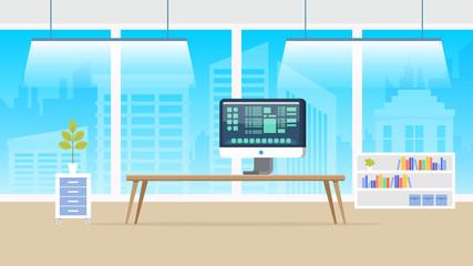 Computer Laboratory Panorama. Flat Illustration.