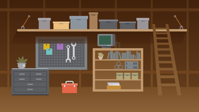 Basement Workshop Interior Illustration. Workspace