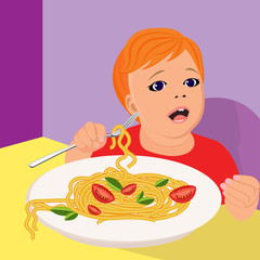 portrait of a small child who eats pasta, in a flat style
