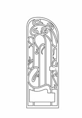 drawing of a small ironwork gate