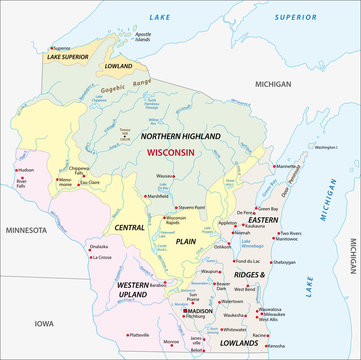 geographic vector Map of the U.S. state of Wisconsin