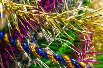 beautiful colored tinsel for christmas
