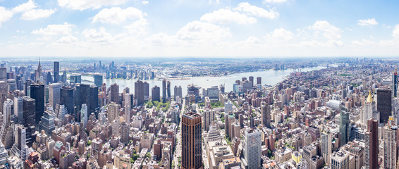 East side Panorama view from The Empire State Building with The East River and Long Island City,...