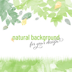 Abstract watercolor natural background with leaves and grass