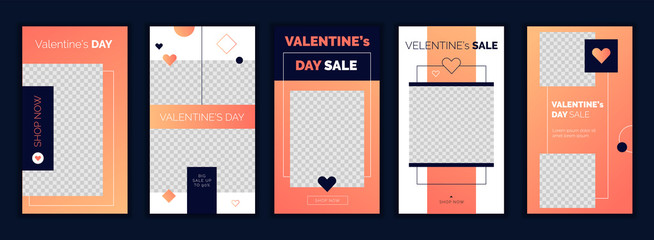 Modern flat Valentine's Day Instagram stories template in trendy living coral gradient, for blog and sales, web online shopping banner concept.Minimalistic geometric trendy sale app screens