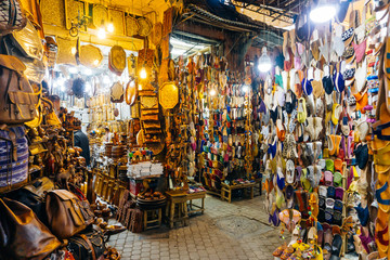 Moroccan oriental souvenirs and products on the market in the Medina of Marrakesh, Morocco