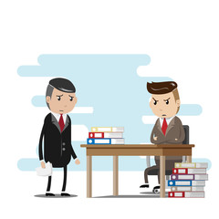 stress work concept. employees are worried about sending jobs to the serious boss. vector illustration