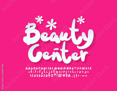 Vector stylish Emblem Beauty Center with cute Font  Set of