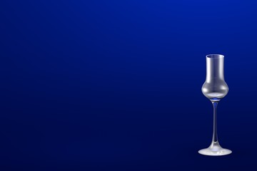3D illustration of grappa glass on blue - mockup with place for your text - drinking glass render