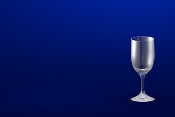 3D illustration of sour cocktail glass on blue - mockup with place for your text - drinking glass render