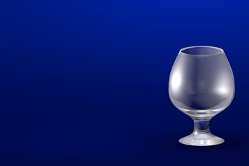 3D illustration of cognac chalice glass on blue - mockup with place for your text - drinking glass render