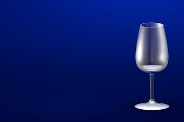 3D illustration of port wine glass on blue - mockup with place for your text - drinking glass render