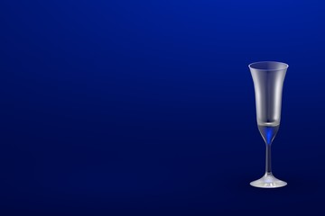 3D illustration of pousse cafe multi layered cocktails glass on blue - mockup with place for your text - drinking glass render