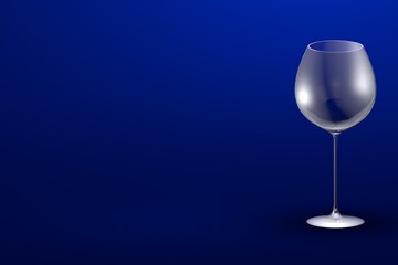 3D illustration of red wine glass on blue - mockup with place for your text - drinking glass render