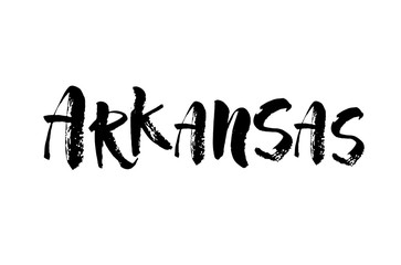 US state name, Arkansas, vector name, isolated on white background, brush lettering, modern ink calligraphy