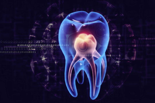 Human tooth x-ray view on scientific background