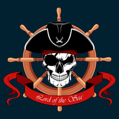 Skull of a pirate with an eye patch in a hat on the background of the ship's steering wheel.