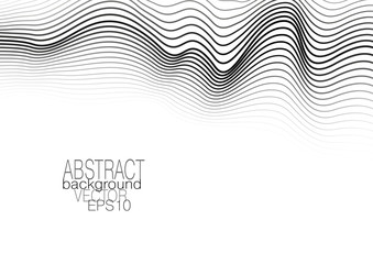 Monochrome op art pattern on white background. Modern template with waving lines. Vector abstract layout for brochure, leaflet, flyer, book, poster, presentation. EPS10 illustration