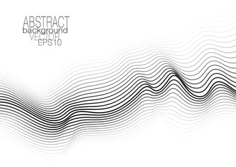 Modern layout with op art pattern. Monochrome squiggle lines on white background. Vector abstract template for brochure, leaflet, flyer, book, poster, presentation. EPS10 illustration