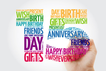 Happy 15th birthday word cloud collage concept with marker
