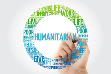 Humanitarian word cloud collage with marker, social concept background