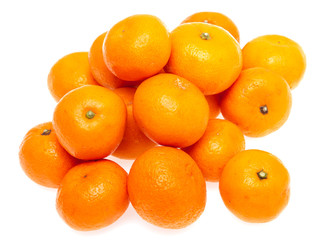 fresh tangerines on a white background