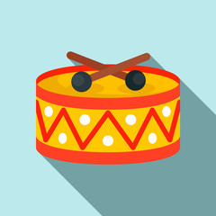 Drums toy icon. Flat illustration of drums toy vector icon for web design