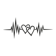 Heartbeat, pulse with double heart, symbol Forever Love for couples, best friends, wedding, Valentine's day and engagement