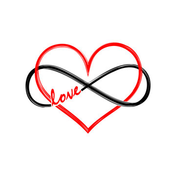 Lemniscate infinity with heart and text, symbol FOREVER LOVE for couples, best friends, Valentine, wedding and engagement