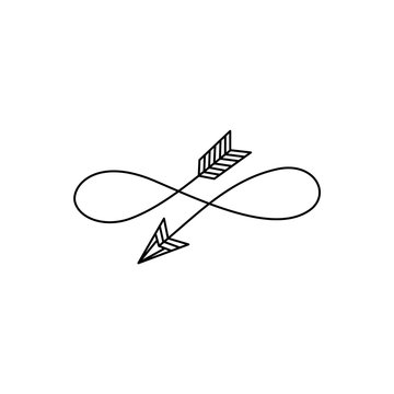 Arrow infinity love, lemniscate symbol, tattoo style, valentines day