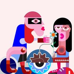 Foto op Aluminium Abstractie Art Cyclist and his girlfriend vector illustration