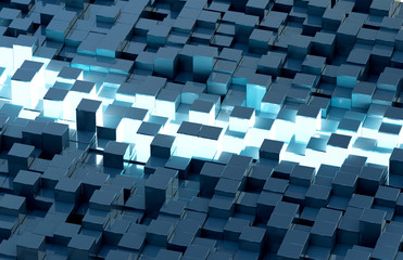 Glowing black and blue squares background pattern 3D rendering