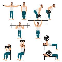 Bearded man doing workout vector illustration. Bearded man doing lateral raise, bent-over row, bench press, dumbbell overhead press, overhead press vector illustration.