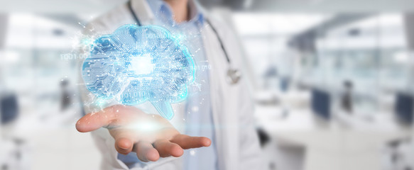 Doctor creating artificial intelligence interface 3D rendering