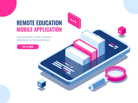 Tutorial on mobile phone application, online education, internet course, data searching, archive ebook cartoon flat vector
