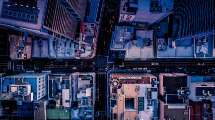 City streets at dusk as seen from above. Aerial photograph