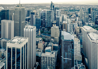 City skyline aerial view with modern skyscrapers and streets