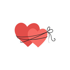 Bound two hearts illustration, icon for Valentines Day, wedding design.