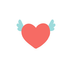 Flying heart with wings illustration, icon for Valentines Day, wedding design.